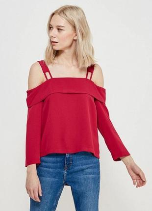 Блуза бордовая с открытыми плечами topshop