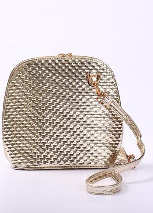 Вместительная золотая сумочка через плечо
