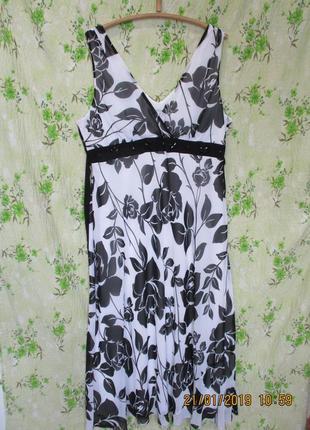 Красивое платье/сарафан в пол в цветочный принт большой размер uk 22/наш 54-56