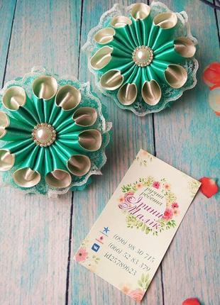 Резинки цветы с кружевом. ручная работа!