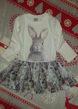 Супер платье на девочку 2годика с кроликами котиками