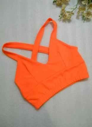 Стильный молодежный яркий оранжевый кроп топ размер s-м