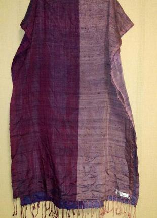Шелковый шарф накидка палантин двухцветный