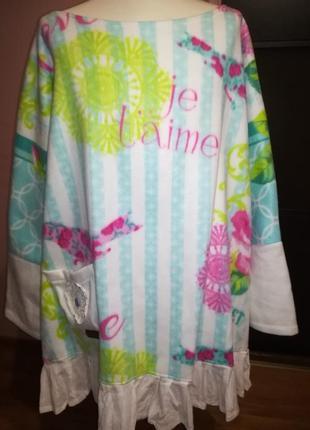 Эксклюзивное дизайнерское флисовое домашнее платье-туника! яркое и тёплое! пог до 75см.