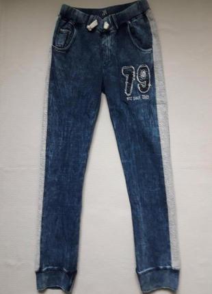 Классные трикотажные хлопковые спортивные брюки под джинс с лампасами mtc