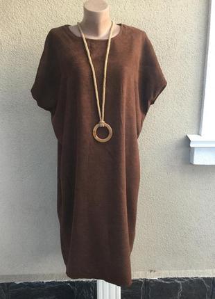 Платье,туника, ткань под замшу,батал,большой размер,hand made