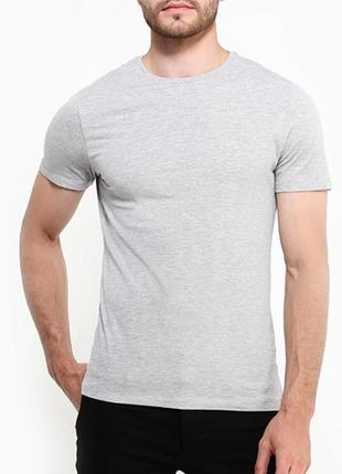 Однотонная меланжевая серая мужская футболка размеры испания