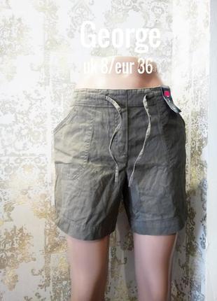 Uk 8/eur 36 новые шорты чинос с резинкой в поясе и завязкой george