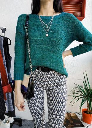 Вязаный джемпер свободного кроя h&m лёгкий изумрудный свитер