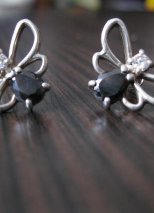 Серьги гвоздики серебро/сережки срібло 925 метелики/бабочки