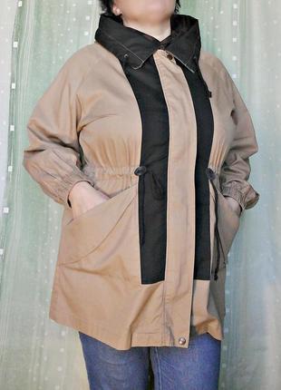 Элегантная куртка, ветровка с капюшоном, на средний рост, 100% хлопка