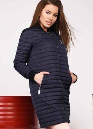 Удлиненная стеганая деми куртка р-ры 42-48 ls-8826 разные цвета
