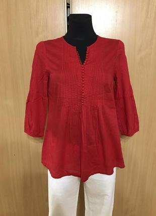Распродажа! sale! скидки! ярко красная хлопковая блуза