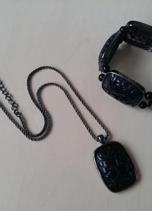 Комплект в винтажном стиле кулон + браслет