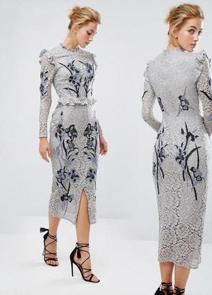 Кружевное ажурное платье hope & ivy миди с вышивкой с сайта asos