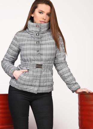 Короткая женская весенняя курточка принт клетка р-ры 42-48 ls-8828