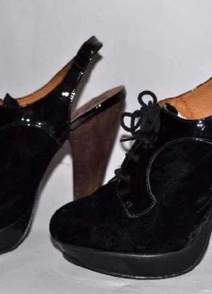 Office london туфли, натуральная кожа + бархат. отличное состояние