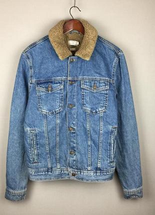 Утепленная джинсовая куртка topman classic шерпа на меху овчина турция