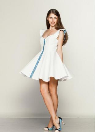 Платье-солнце корсетное из белого коттона