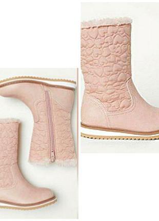 Зимние сапоги на меху, экокожа, текстиль, розовая пудра, waterproof, h&m