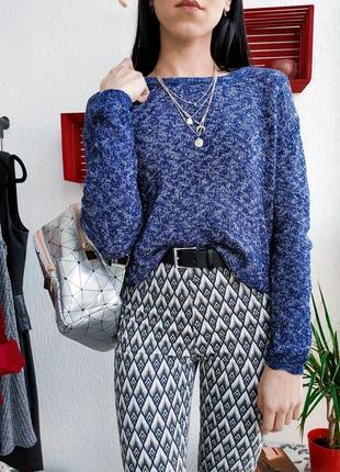 Актуальный вязаный джемпер h&m лёгкий свитер глубокого цвета