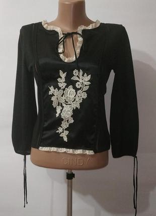 Дизайнерская блуза с дорогой вышивкой red valentino. uk 10-12 / 38-40 / m
