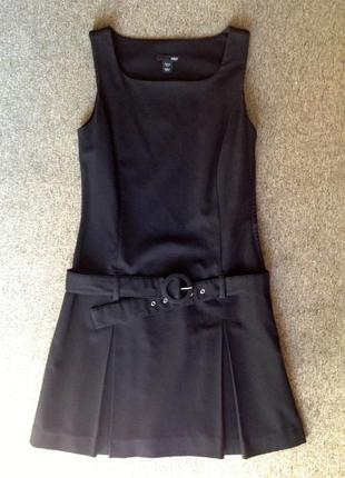 H&m деловое черное сарафан платье под пояс
