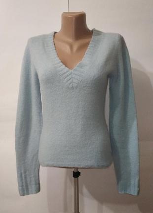 Голубой шерстяной свитер пуловер fat face uk 10 / 38 / s