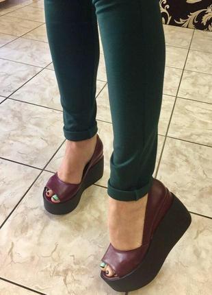 Натуральная замша /кожа /туфли на танкетке /24 см