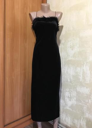 Роскошное бархатное платье с перьями,стрейч!!