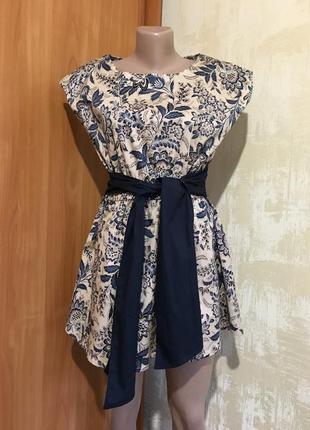 Пышное платье в принт с широким поясом,jolie moi