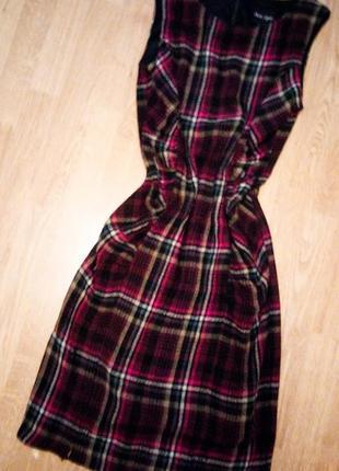 Фирменное классическое платье сарафан карандаш футляр клетчатое миди