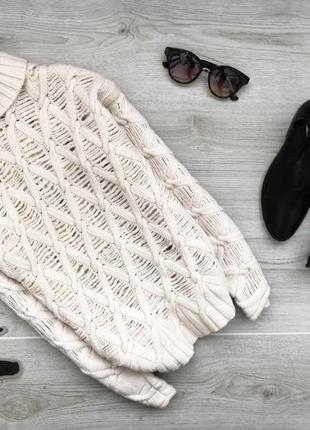 Актуальный шерстяной рваный свитер/водолазка цвета бежевой пудри marc cain