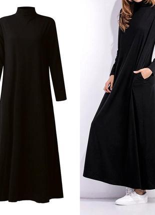 Стильное платье с карманами,миди/макси,зима_весна_осень,джерси 10 цветов,все размеры
