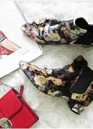 Очаровательные цветочные ботинки из бархата на низком ходу, острый носок, от topshop, 24см