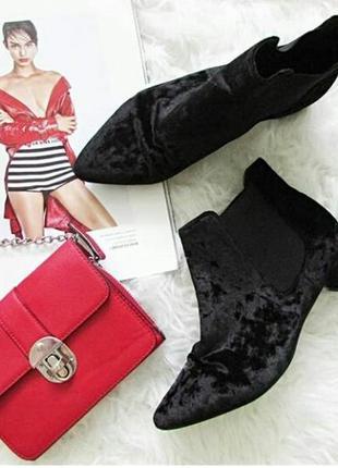 Модные ботинки из мокрого бархата на низком ходу, с острым носком, от topshop, 24,5-25cм