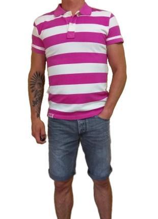 Мужская летняя поло футболка в широкую розовую полоску mitchell brad