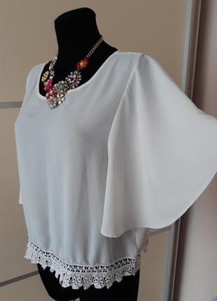 Шикарная блуза с кружевом и воланами 1+1=3