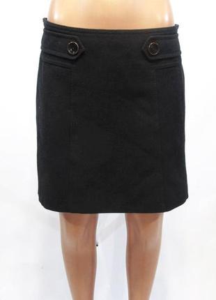 Юбка мини hallhuber чёрная короткая тёплая