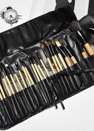 Профессиональный набор кистей для визажа на 24 инструмента с удобным чехлом для хранения