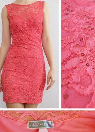 Коралловое кружевное платье lipsy london