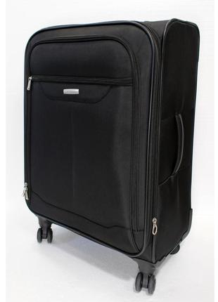 Большой тканевый чемодан samsonite, черный, оригинал