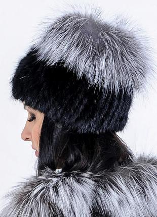 Меховая женская шапка из норвежской чернобурки