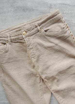 Zara джинсы нюдовые бежевые 7/8 семь восьмых