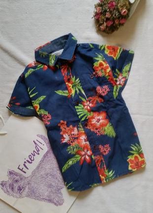 Рубашка гавайская гавайка яркая на мальчика 4 года 104 см короткий рукав принт цветы