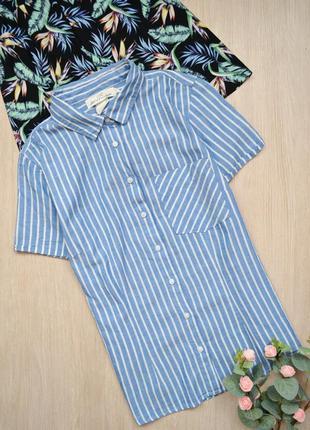 Приталенная рубашка в полоску с коротким рукавом h&m