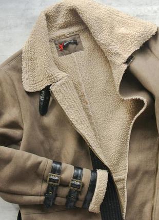 Sinequanone пальто овечка с кожаными ремнями хаки