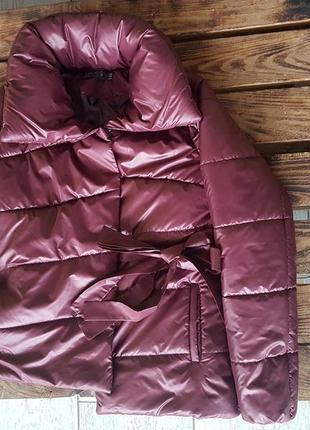 Стильная демисезонная куртка темно-алая винного цвета m 46 и другие