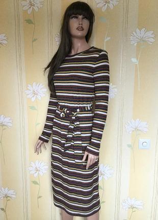 Платье трикотажное миди в полоску next 10 размер