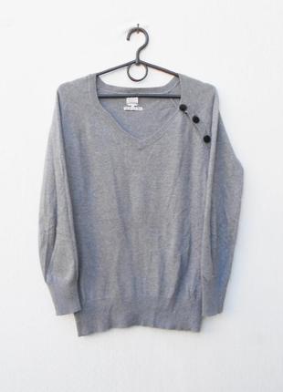 Серый осенний зимний свитер кашемир шелк с принтом на спинке karl marc john франция